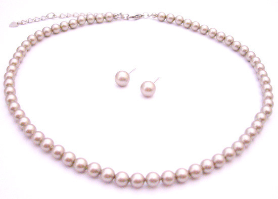 Primary image for Exquisite Designed Platinum Champagne Pearl Necklace with Stud Earring