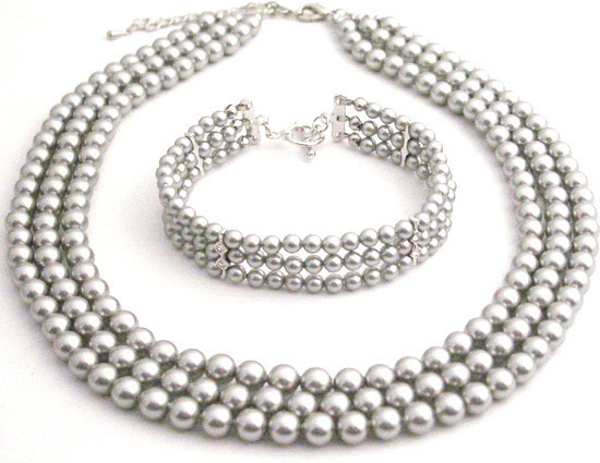 Primary image for Intricate Customize Handmade Magnificient Lite Grey Pearls Jewelry