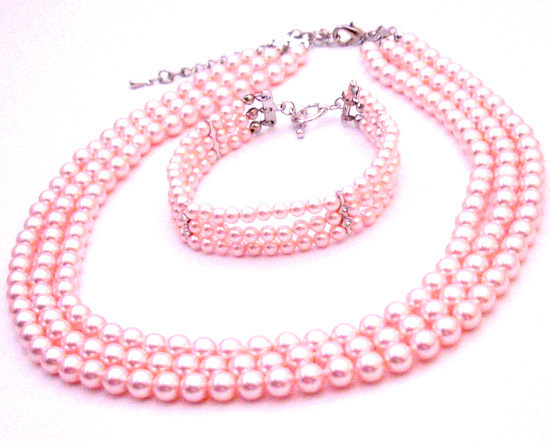 Primary image for Gift Ideas Personalized Occasion Gift Pink Necklace & Bracelet Jewelry