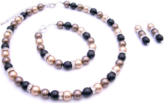 Primary image for Custom Designed Presentation Gift Tricolor Swarovski Pearls Jewelry