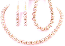 Glimmering Neklace Earrings & Bracelet Champagne Pearls Gold Rondells - $106.98
