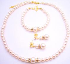 My True Love Chic Swarovski Pearls Necklace Earrings Bracelet Gold Set - $56.93