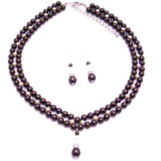Primary image for Special Occasion Party Jewelry Darkest Chocolate Ivory Pearls Set