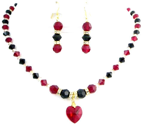 Primary image for Handmade Jewelry In Siam Red Jet Golden Shadow Party Wear Necklace Set