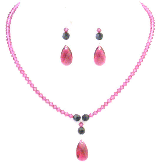 Primary image for Fuchsia Teardrop Crystals w/ Jet Swarovski Crystals Party Necklace Set