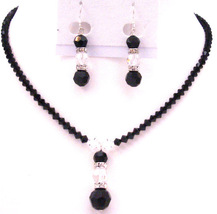 Artisin Jewelry Black & White Crystals Year Eve Party Jewelry Set - $43.28