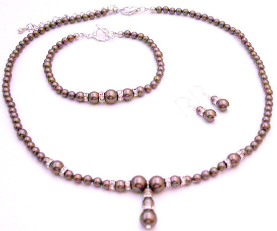 Primary image for Our Artist Special Order Fine Brown Pearls Necklace Earrings Bracelet