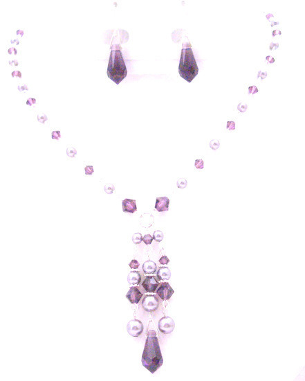 Primary image for Dressy Jewelry Mauve Pearls Amethyst Crystals Unusual Jewelry Necklace