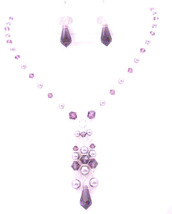 Dressy Jewelry Mauve Pearls Amethyst Crystals Unusual Jewelry Necklace - $49.13