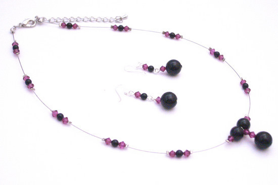 Primary image for Pretty Wonderful Spectacular Jewelry Black Pearls Fuchsia Crystals Set