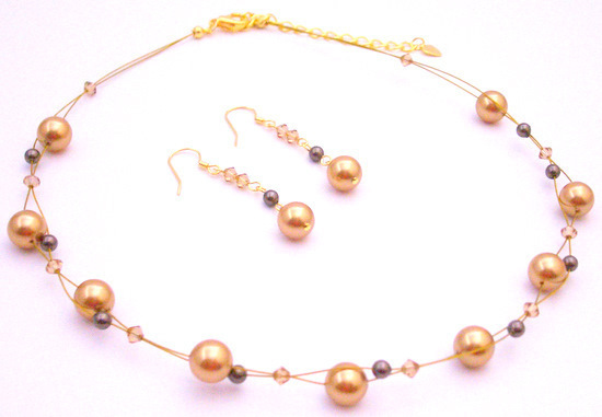 Primary image for Year Eve Party Necklace Gold Brown Pearls Lite Colorado Crystals