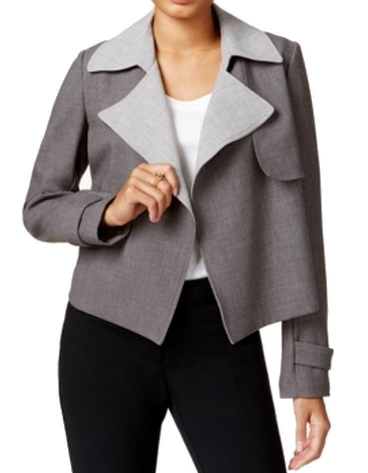 Tommy Hilfiger NEW Grey Womens Size 6 Flyaway Contrast Trench Jacket $129