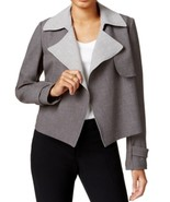 Tommy Hilfiger NEW Grey Womens Size 6 Flyaway Contrast Trench Jacket $129 - $23.70