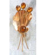 Elegant Art Deco Honey Rhinestone Golden Flower Brooch 1930s vintage - $22.72
