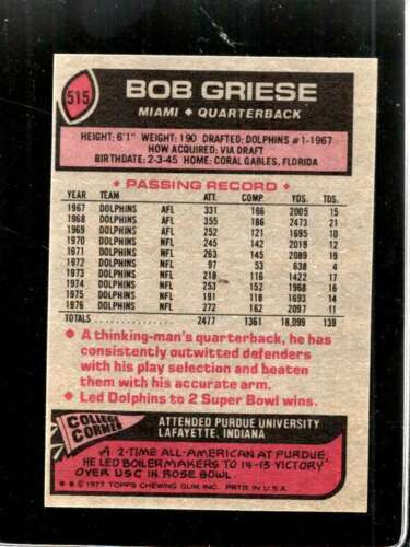 1977 TOPPS #515 BOB GRIESE NM DOLPHINS HOF  *X3730