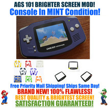 Nintendo Game Boy Advance GBA Indigo System AGS 101 Brighter Backlit Mod... - $124.90