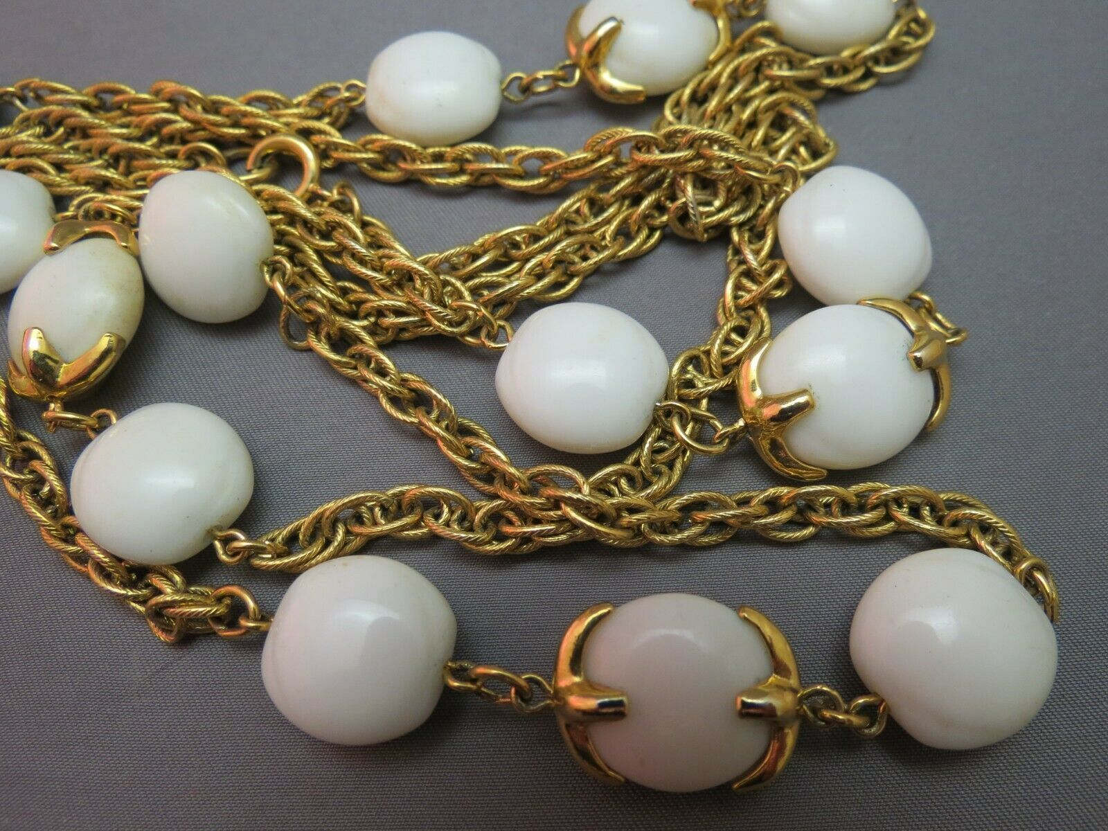 "VTG Crown Trifari Long Necklace Chain Gold Plated Glass Beads Couture 54"" Long"