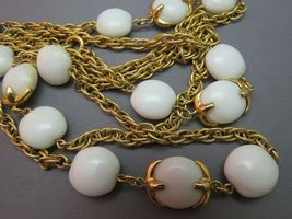 """VTG Crown Trifari Long Necklace Chain Gold Plated Glass Beads Couture 54"""" Long image 7"""