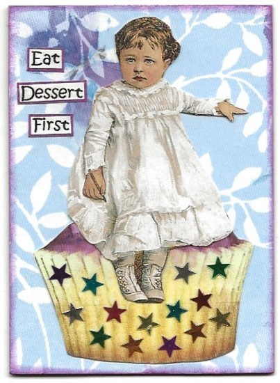 Primary image for ACEO ATC Art Card Collage Original Girls Ladies Cupcake Cake Eat Dessert First