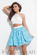 Beaded Lace 2-Pc White Blue Sexy Rachel Allan 4027 Short Prom Party Dress - $345.00