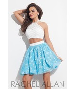 Beaded Lace 2-Pc White Blue Sexy Rachel Allan 4027 Short Prom Party Dress - $6.491,88 MXN