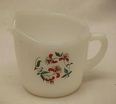 Anchor Hocking Fire-King Milk Creamer Red Honeysuckle Flowers AH Vintage MCM - $24.74
