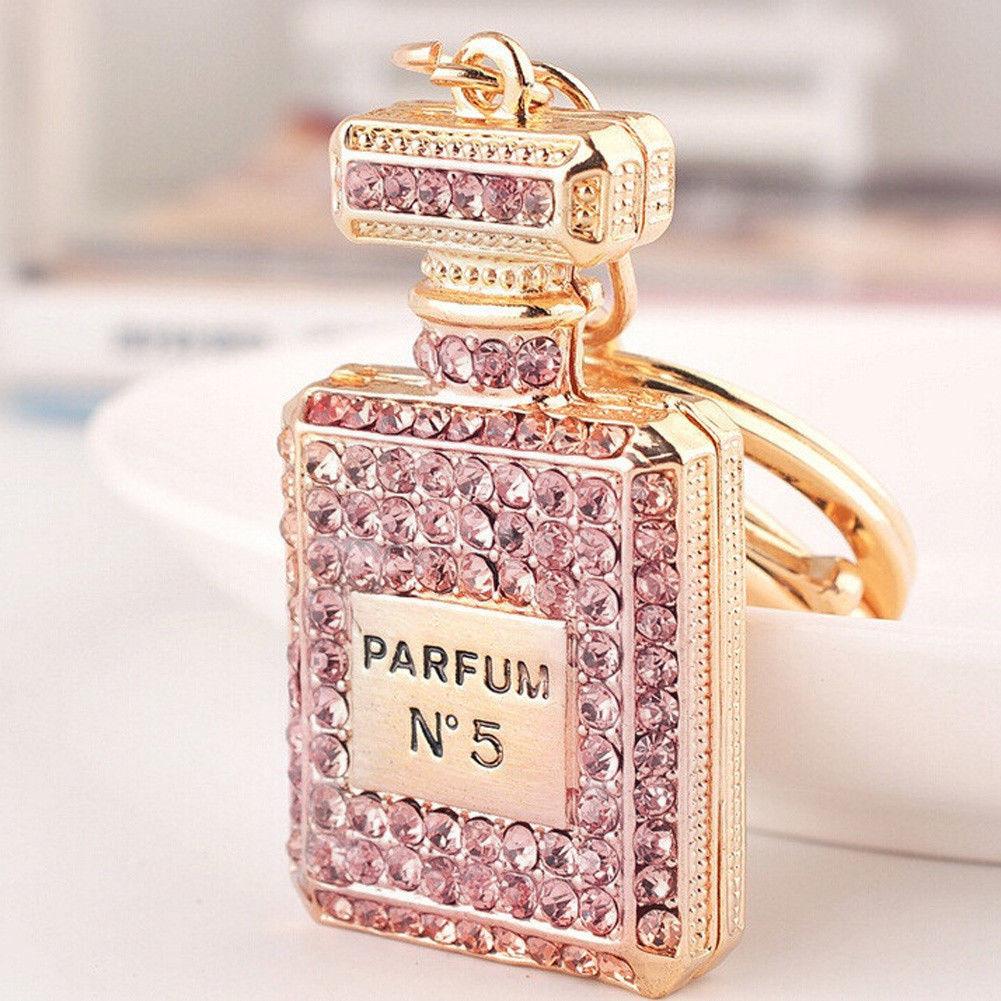 Parfum No 5 Pink Crystal Rhinestone Perfume Bottle Keychain Key Ring Gold USA