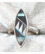 Ancient Civ 70s Turquoise, Black Onyx & Shell Ring - $9.95