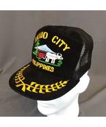 Vintage Baguio Philippines Snapback Cap Black Mesh Trucker Hat Embroidered - $28.98