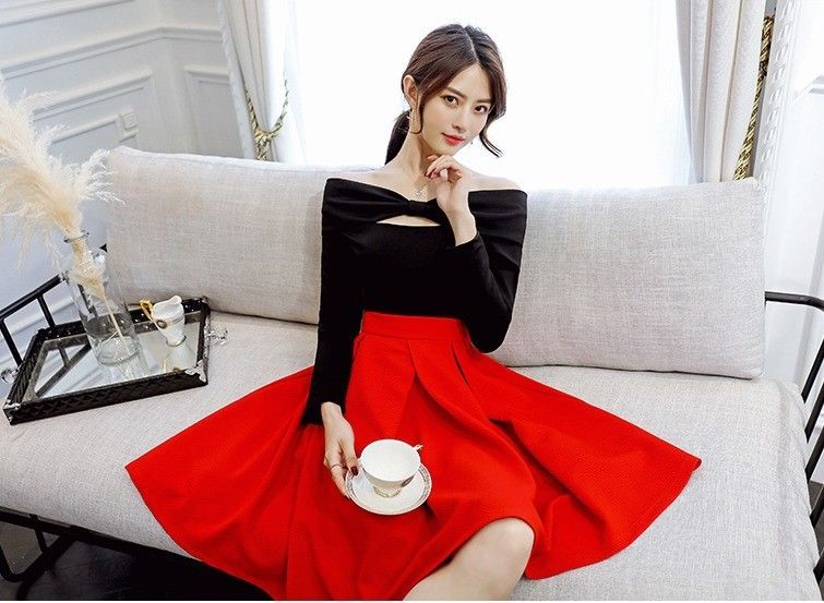 Chic 2018 Spring Bowknot Off-Shoulder Long Sleeve A-line Sweet Princess Dress