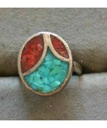 Fabulous Ancient Style Turquoise & Coral Chip Sterling Ring 1970s vintage - $12.82