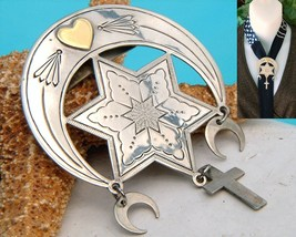 Coexist Moon Star Cross Unity Scarf Slide Pendant Southwest - $42.95