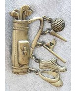 Fabulous JJ Golden Golf Bag Charm Brooch 1980s ... - $19.95