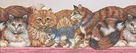 Cats with Green and Blue Collars on Pink Bench ISB4101B Wallpaper Border - $15.35