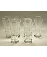 Vintage Libbey Tall Shot Glasses - Cut Rings Pattern - Holds 3 Ounces - $25.00