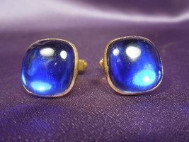 Mid Century Modern Gold Tone Electric Blue Lucite Men's Cuff links - $17.82