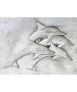"Fantastic Spoontiques Pewter Dolphins Brooch 1980s vintage   3 5/8"" - $19.75"