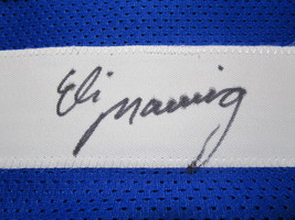 ELI MANNING / AUTOGRAPHED NEW YORK GIANTS BLUE CUSTOM FOOTBALL JERSEY / COA image 4