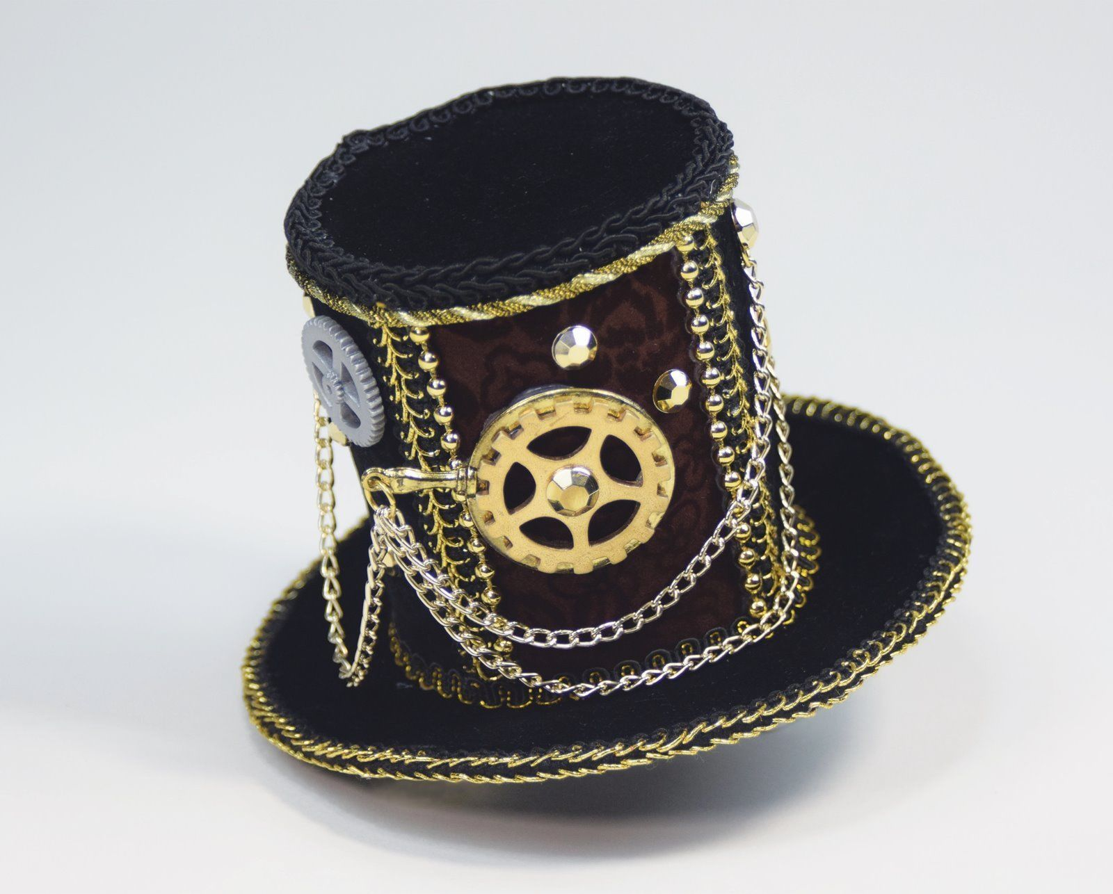 Primary image for SteamPunk Cosplay Mini Black Velvet Gear & Chain Victorian Cocktail Top Hat, NEW