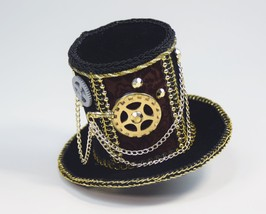 SteamPunk Cosplay Mini Black Velvet Gear & Chain Victorian Cocktail Top ... - $10.69