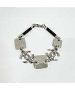 CHANEL CC Mark Bracelet 97 A [Metal] Silver & Black Made in France  - $602.10