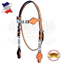 Western Horse Headstall Tack Bridle American Leather Braided Tan Hilason... - $63.31