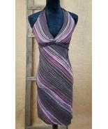 BCBGMAXAZRIA women XS cross body halter dress striped brown - $18.81