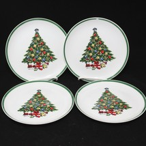 "Mount Clemens Pottery Xmas Tree Salad Dessert Plates 7.5""  Set of 4 - $29.35"