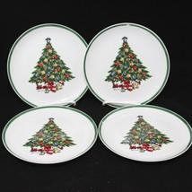 "Mount Clemens Pottery Xmas Tree Salad Dessert Plates 7.5""  Set of 4 - $29.35"