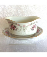 Cascade Gravy Boat with Attached Underplate White/Pink Harmony House Fin... - $14.99
