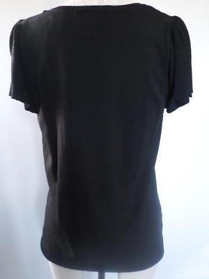 ANN TAYLOR LOFT black Stretch Bell Ruffle Sleeve V-neck size L career office