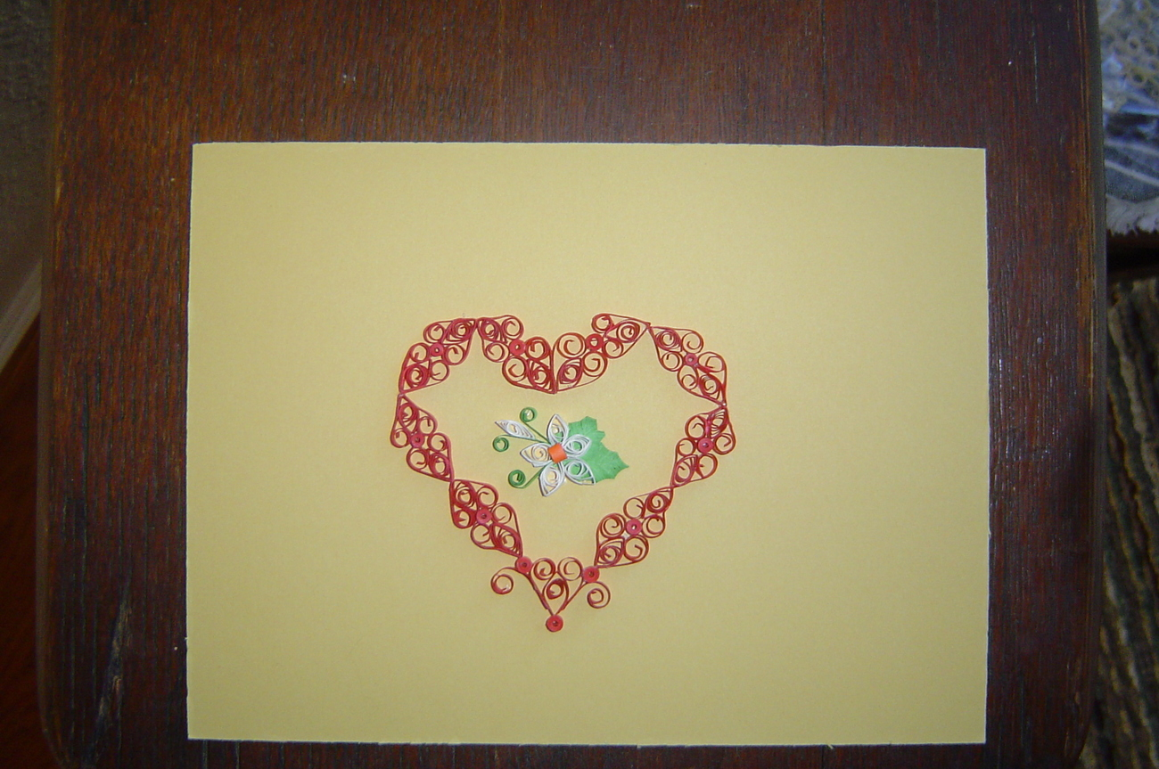Primary image for Paper Quill Heart and Flower,Ready to Frame.- Handcrafted  New