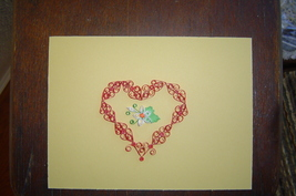 Paper Quill Heart and Flower,Ready to Frame.- Handcrafted  New - $14.99