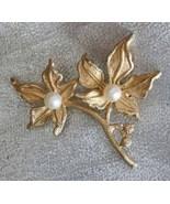 Elegant Brooks Cultured Pearl Golden Flower Bro... - $12.95